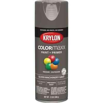 Krylon Colormaxx Gloss Spray Paint & Primer, Machinery Gray