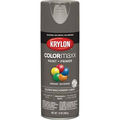 Krylon Colormaxx Gloss Spray Paint & Primer, Machinery Gray