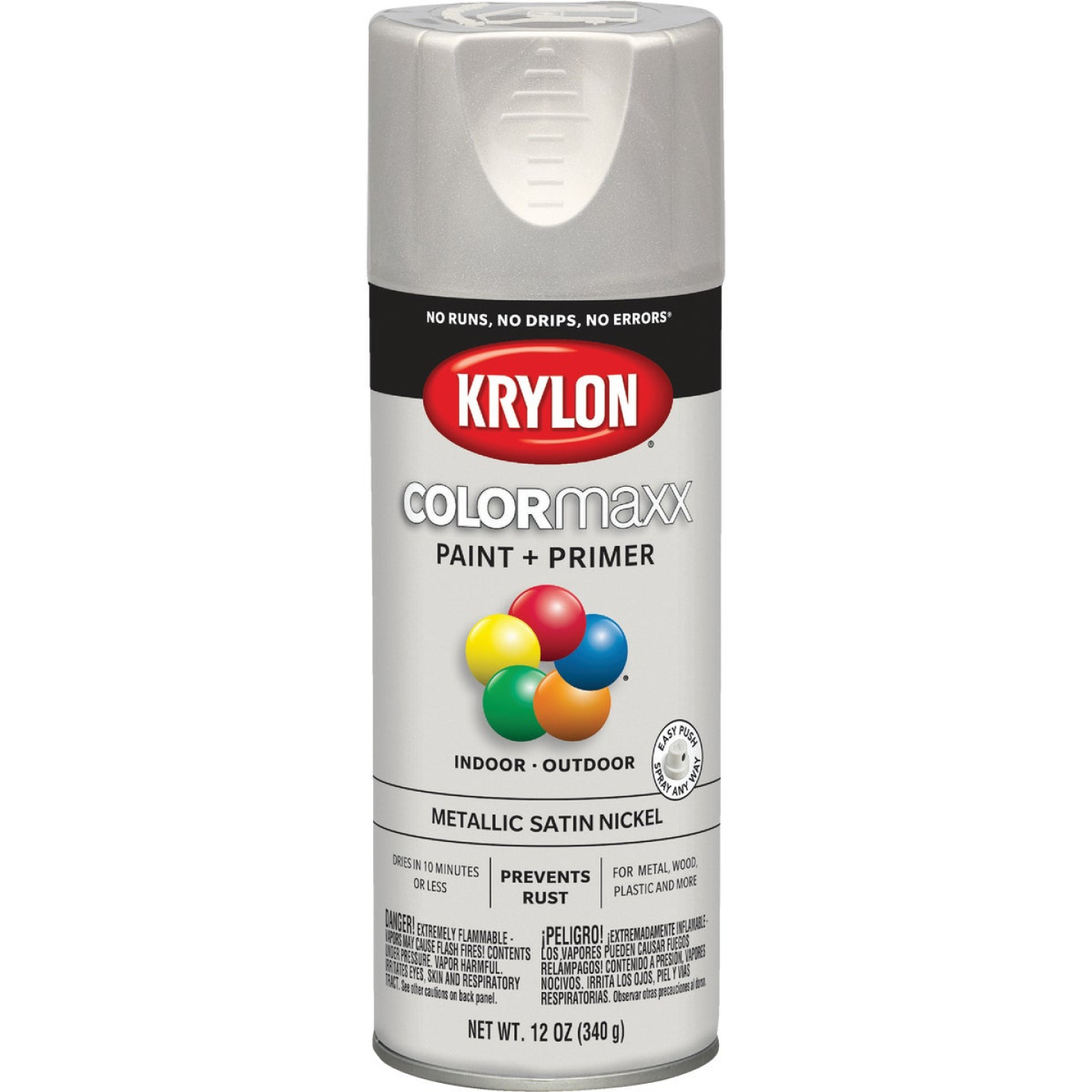 Krylon ColorMaxx 11 Oz. Brushed Metallic Satin Spray Paint, Nickel Image 1