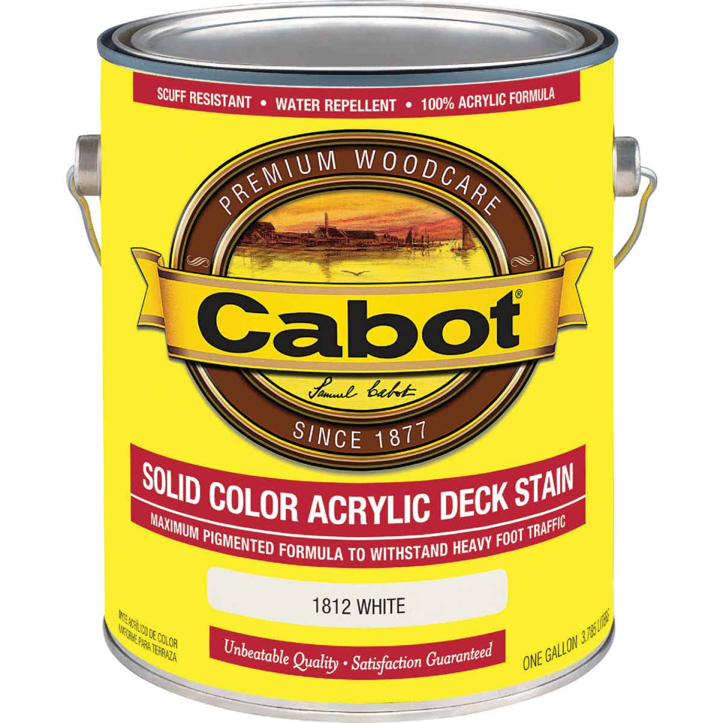 Cabot Solid Color Acrylic Deck Stain, White, 1 Gal. Image 1