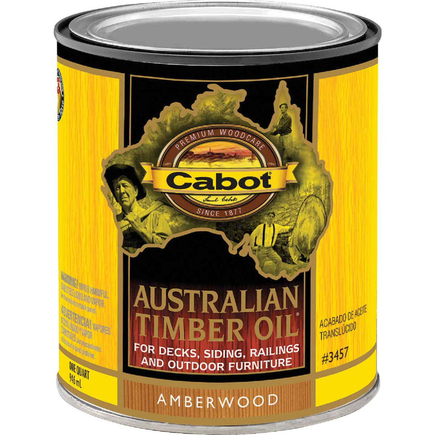 Cabot Australian Timber Oil Translucent Exterior Oil Finish, Amberwood, 1 Qt. Image 1