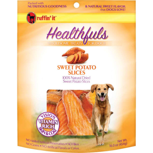 Ruffin' it Healthfuls Sweet Potato Flavor Chewy Dog Treat, 1 Lb.