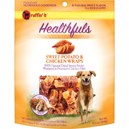 Ruffin' it Healthfuls Sweet Potato & Chicken Flavor Chewy Dog Treat, 1 Lb.