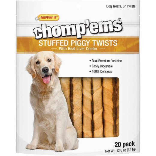 Ruffin' it Chomp'ems Pork Flavor Chewy Dog Treat (20-Pack)