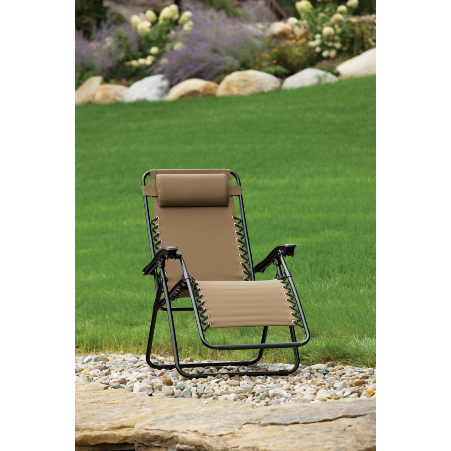 Outdoor Expressions Zero Gravity Relaxer Tan Convertible Lounge Chair Image 3