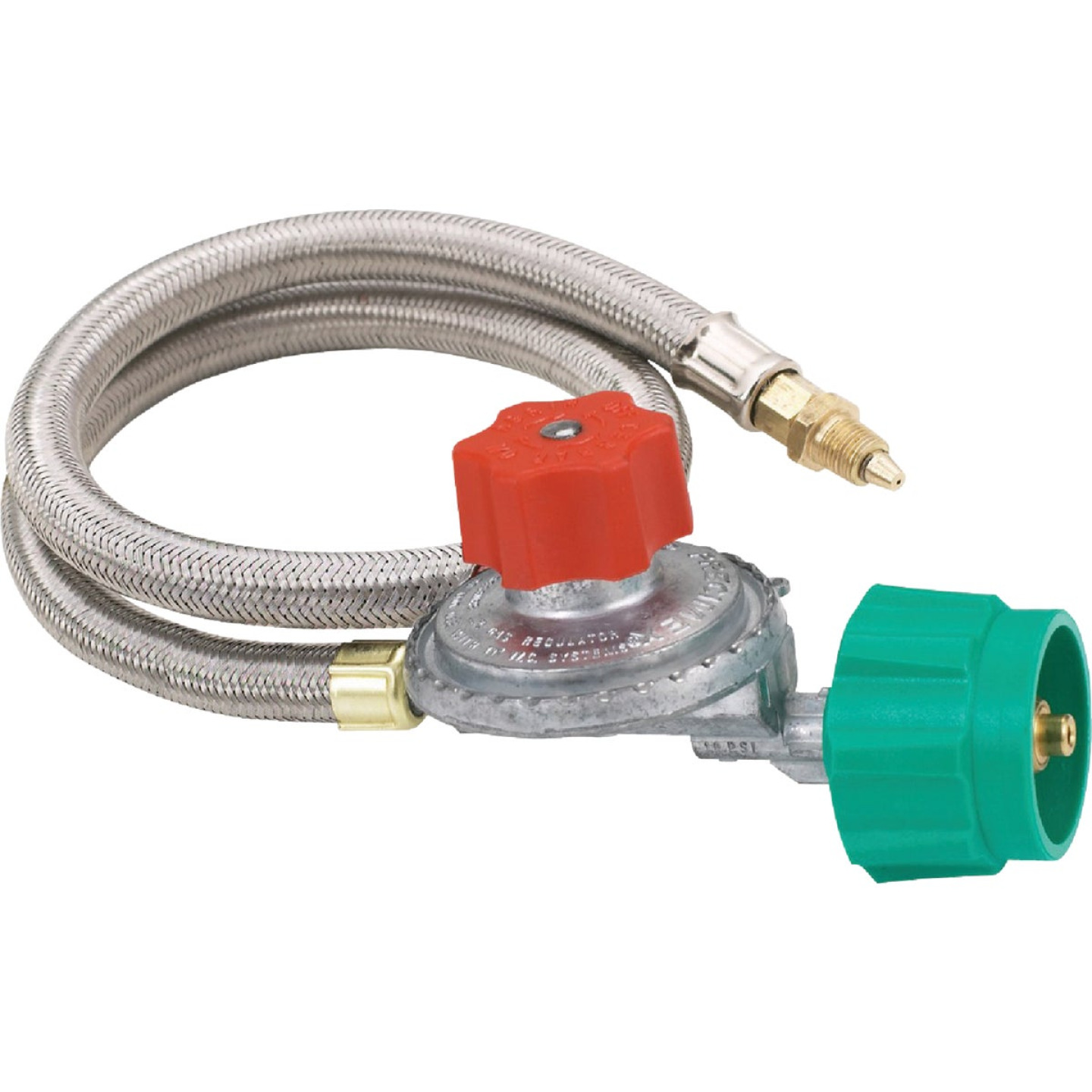 Bayou Classic 36 In. Stainless Steel Low Pressure LP Hose & Adjustable Regulator Image 1
