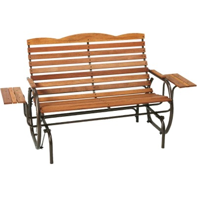 Jack Post Country Garden Taupe Hi-Back Glider with Trays