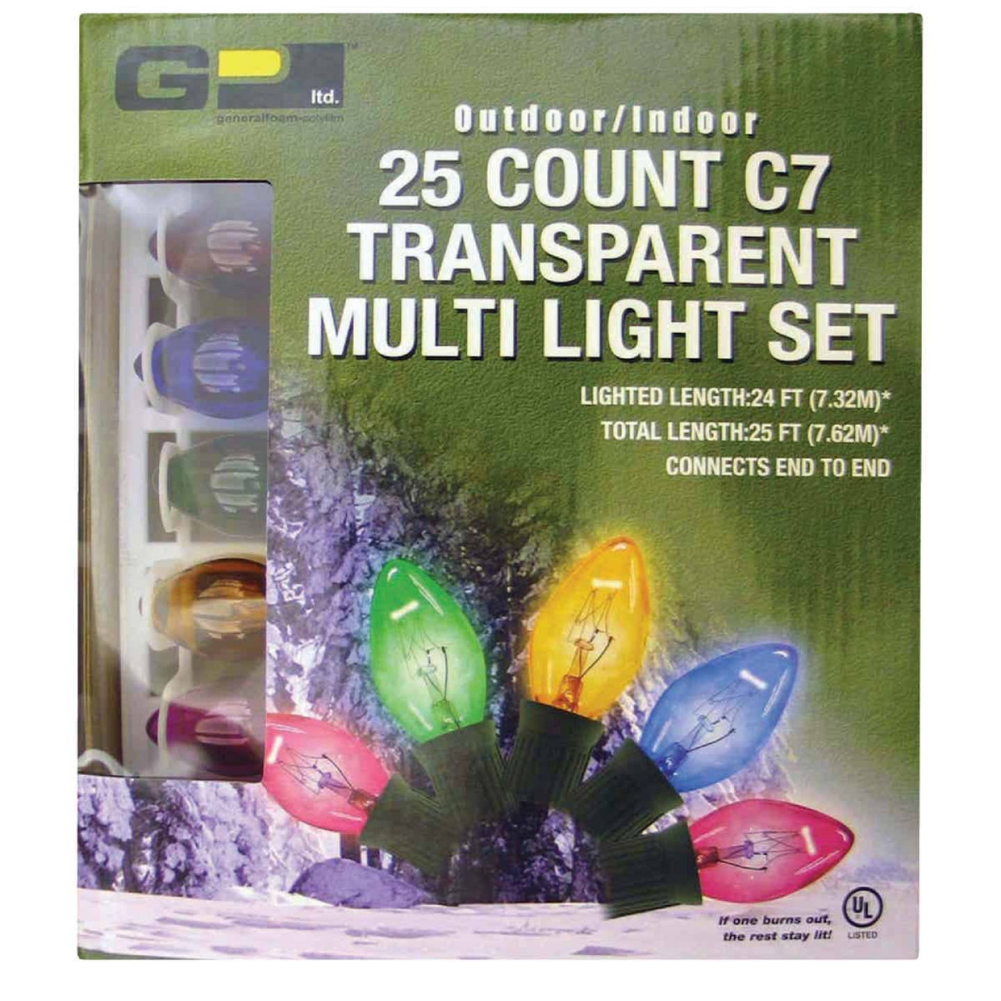 J Hofert Transparent Multi 25-Bulb C7 Incandescent Light Set Image 2